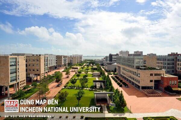 Toàn cảnh trường Đại học Quốc gia Incheon Hàn Quốc