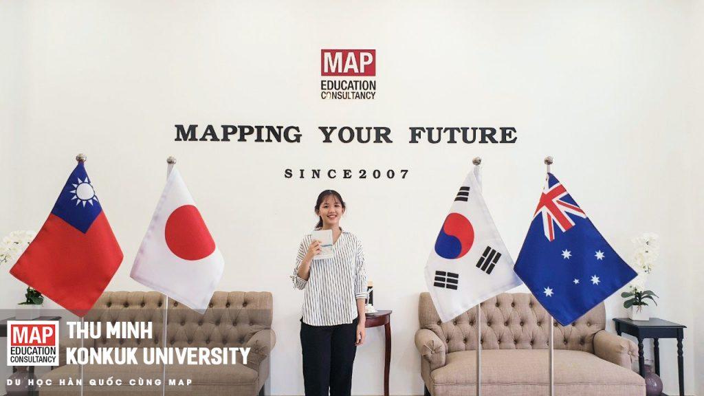 Thu Minh là sinh viên ưu tú của MAP hiện đang có kết quả học tập tốt tại Đại học Konkuk