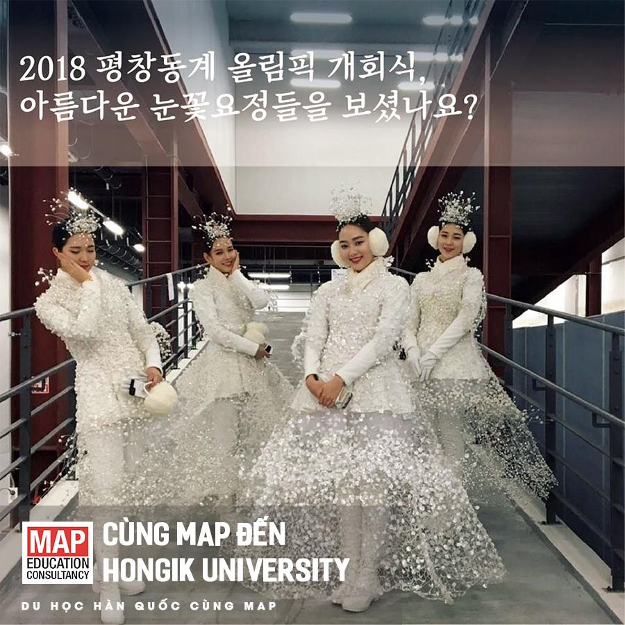 Bức hình ghi lại hình ảnh các sinh viên của Hongik được đăng trên bản tin của trường có chú thích: Bạn có nhìn thấy hình ảnh các nàng tiên xinh đẹp mặc váy hình tuyết trắng tại buổi lễ khai mạc thế vận hội Olympic Pyongchang năm 2018 ko? Hình ảnh này cũng một phần cho thấy một góc nhìn về nhóm ngành nghệ thuật nổi tiếng của Hongik.