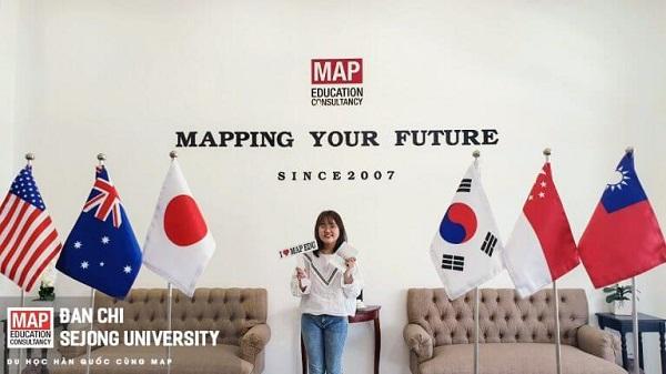 Bạn Đan Chi, sinh viên MAP nhận visa du học Đại học Sejong - trường hàng đầu về Ngôn ngữ Hàn - Phiên dịch