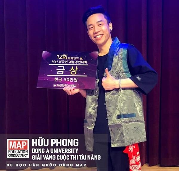 Hữu Phong - sinh viên của MAP đạt giải vàng trong cuộc thi tài năng tại Đại học Dong A