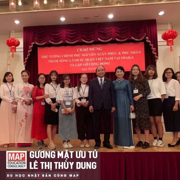Thùy Dung vinh dự được tham gia đoàn sinh viên Việt Nam tiếp đón Thủ tướng Nguyễn Xuân Phúc tại Nhật Bản.