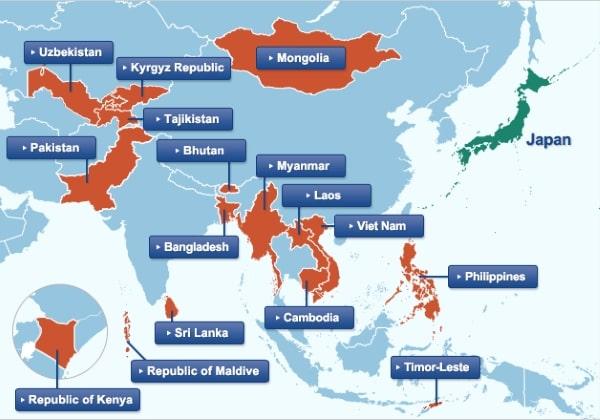 Những quốc gia được Nhật Bản hỗ trợ, trong đó có Việt Nam