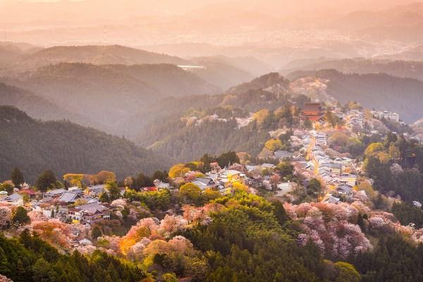 Phong cảnh núi Yoshino từ trên cao