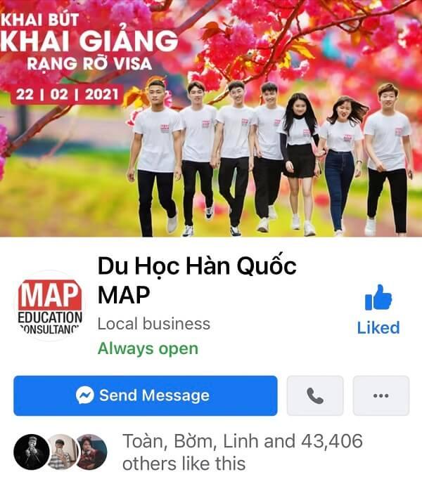 Trang tư vấn du học Hàn Quốc online qua Facebook của MAP