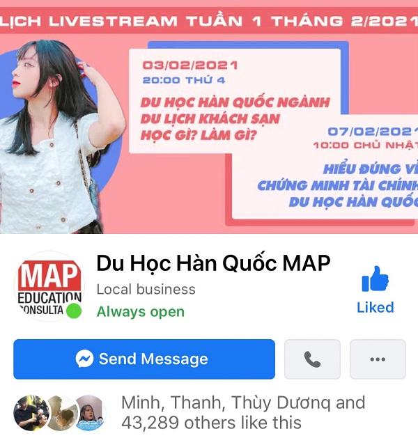 Tư vấn đi du học Hàn Quốc online qua trang Facebook Du học Hàn Quốc MAP