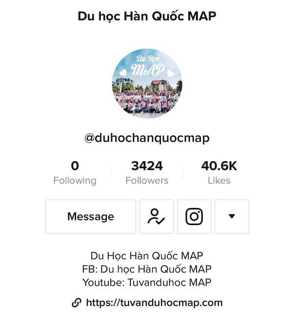 Tư vấn du học Hàn Quốc online qua trang Tiktok chính thức của MAP