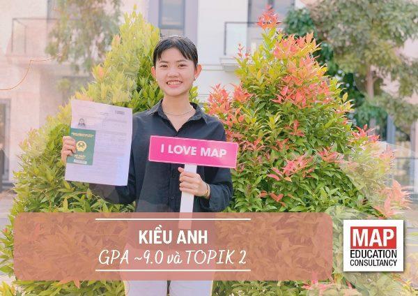 Bạn Kiều Anh với GPA trung bình ~9.0 và chứng chỉ tiếng Hàn TOPIK 2 level 3-4-5-6, đã đỗ xét tuyển của đại học Quốc gia Seoul