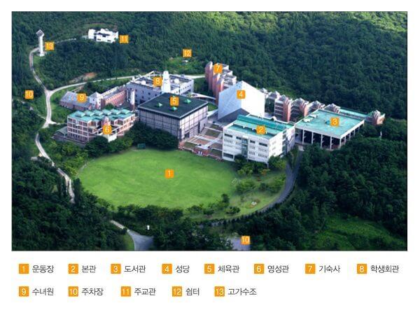 Sơ đồ khuôn viên trường công giáo Gwangju